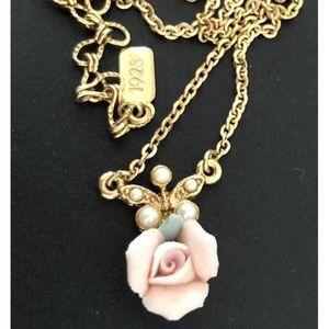 """""""1928"""" Faux Pearl Porcelain Rose Pendant Necklace"""